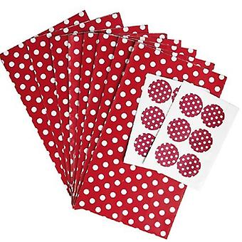 Paper Party bags - Red with White Spot - pack of 8 with fastening stickers