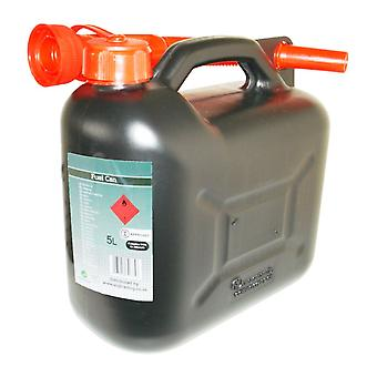 Black Diesel Fuel Cannister Plastic Jerry Can 5 Litre Flexible Spout