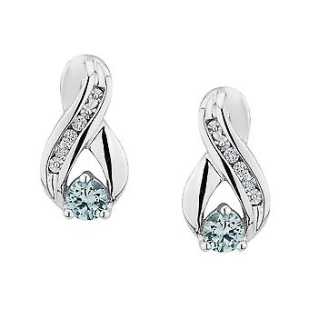 Aquamarine Infinity Earrings with Diamonds in Sterling Silver