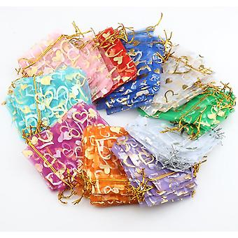 TRIXES 10 Drawstring Wedding Favours Gift Pouches Mixed Colours Organza