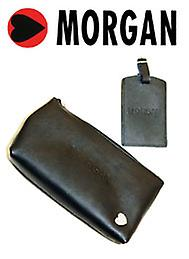 Morgan - Leather Travel Money Document Pouch And Luggage / Suitcase Tag Set - Black