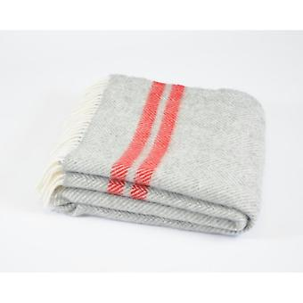 Tweedmill Pure New Wool Fishbone 2 Stripe Throw - Silver Grey/Red
