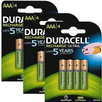 Duracell 850mAh Pre Charged Rechargeable AAA Batteries - Pack of 12