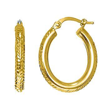 14K Gold Diamanten geschnitten Oval Glitzer Creolen