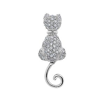 Synthetic Cubic Zirconia (CZ) (CZ) Cat Pin Brooch in Sterling Silver