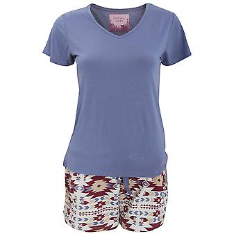 Foxbury Womens/Ladies Short Sleeved Top & Aztec Print Shorts Pyjamas/Nightwear Set
