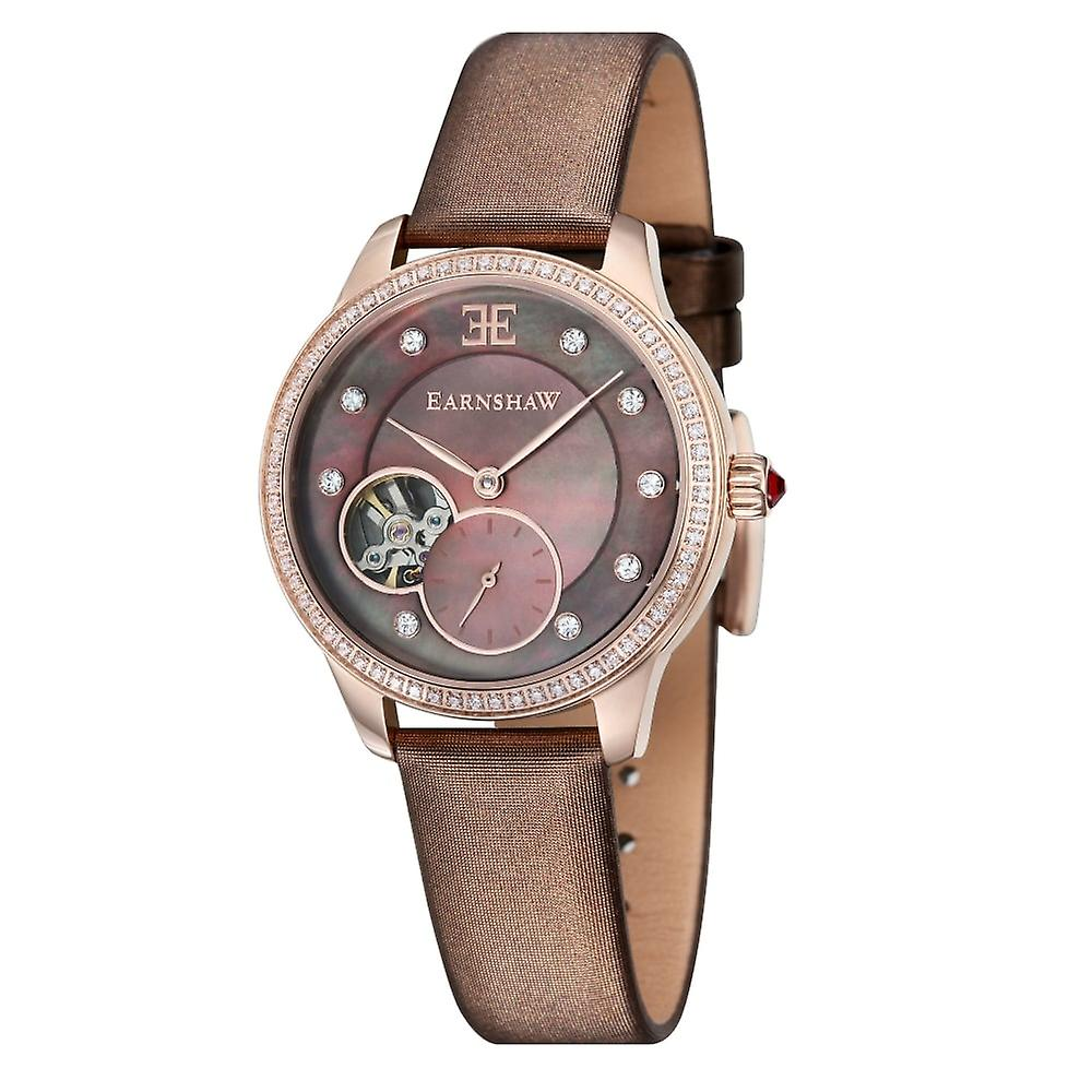 Thomas Earnshaw Es-8029-04 Lady Australis Rose Gold & Brown Leather Mother Of Pearl Ladies Watch