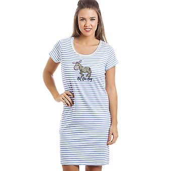 Camille White With Blue Stripes Donkey Motif Nightdress