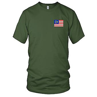 Malaysia Malaysian Country National Flag - Embroidered Logo - 100% Cotton T-Shirt Ladies T Shirt