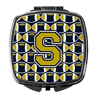Carolines Treasures  CJ1074-SSCM Letter S Football Blue and Gold Compact Mirror
