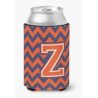 Letter Z Chevron Orange and Blue Can or Bottle Hugger