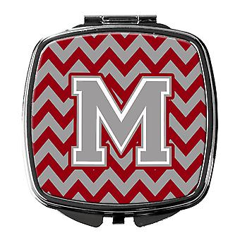 Letter M Chevron Crimson and Grey   Compact Mirror