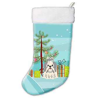 Merry Christmas Tree Shih Tzu Silver White Christmas Stocking