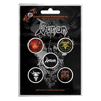 Venon badge pack Pentagram band logo Black Metal new Official 5 x Pin Button