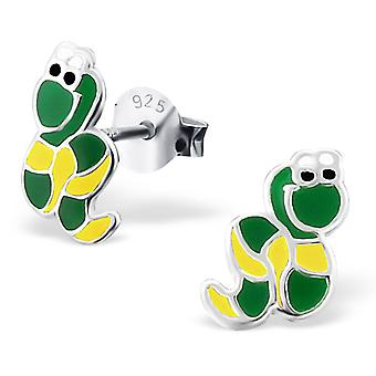 Snake - 925 Sterling Silver Colourful Ear Studs