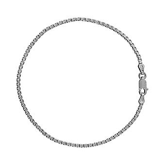 Sterling Silver 925 Womens Ladies Box Chain Bracelet Width 2mm