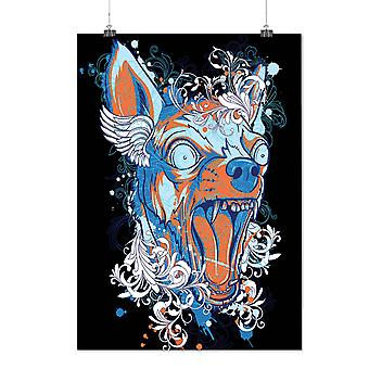 Matte or Glossy Poster with Colorful Angry Dog Animal | Wellcoda | *d1276