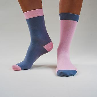 Mr. grey & mrs. pink - colourful, pink and grey, comfortable cotton unisex odd socks by bsilysocks