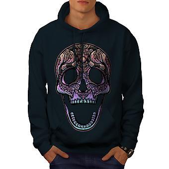 Color Skull Men NavyHoodie | Wellcoda