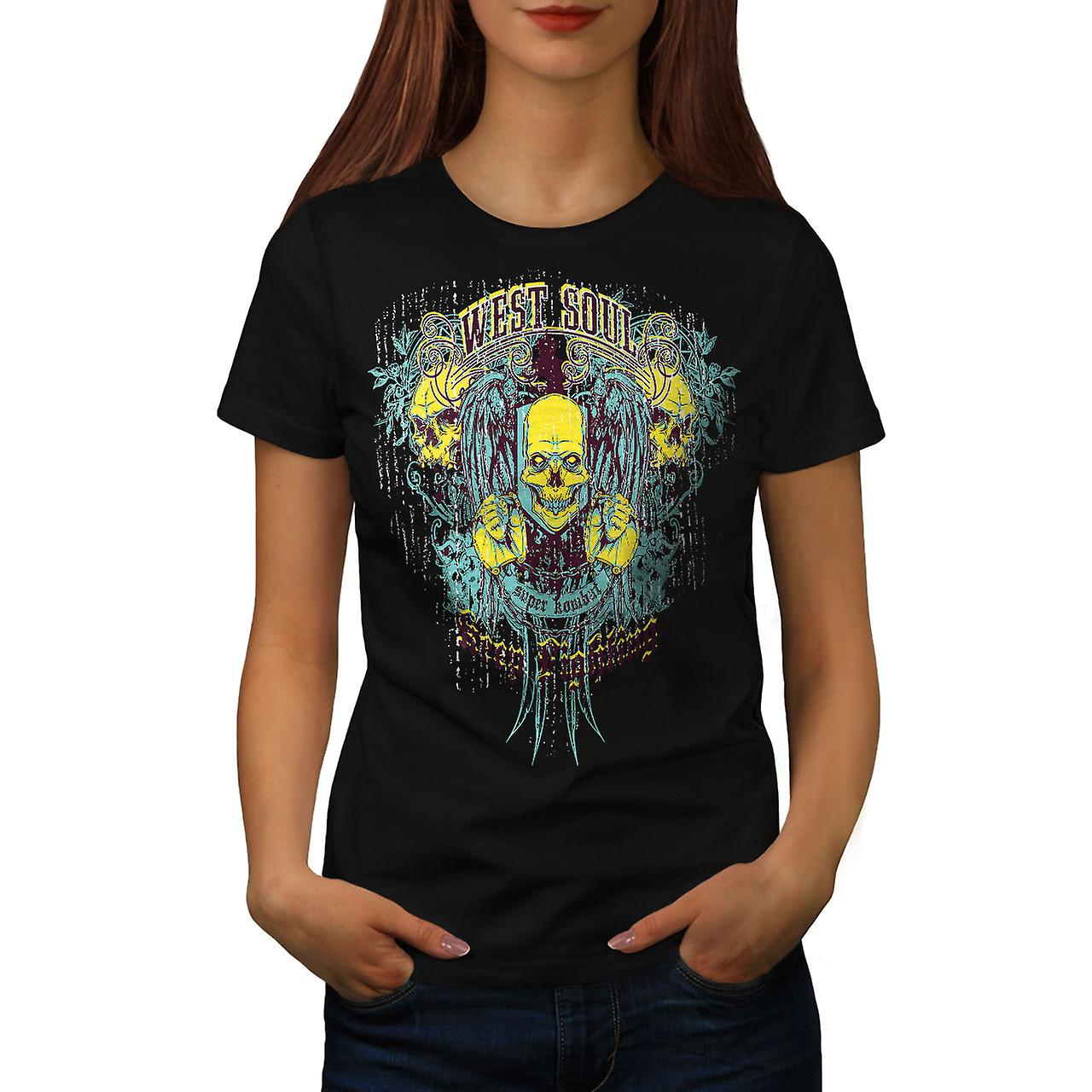 West Soul Undead Skull Women Black T-shirt | Wellcoda