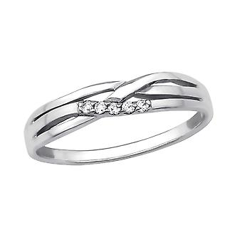 Intertwining - 925 Sterling Silver Jewelled Rings - W29229X