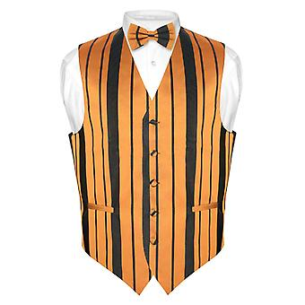 Men's Dress Vest & BOWTie & Woven Striped Design Bow Tie Set