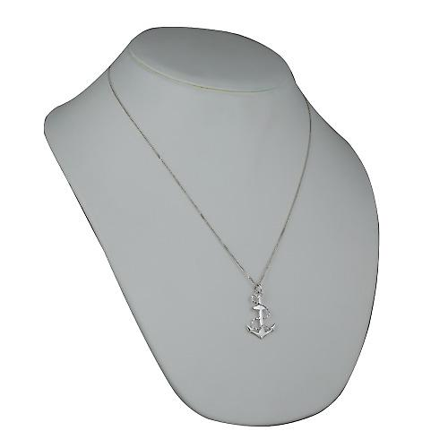 Silver 30x20mm Anchor Pendant with a curb Chain 22 inches