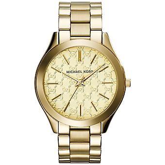 Michael Kors dam Slim Runway Klocka guld armband guld urtavla MK3335