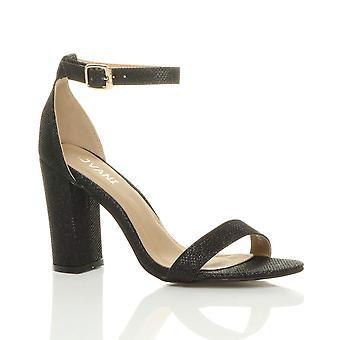 Ajvani dame blokere høj hæl ankel rem peep toe strappy sandaler sko pumper fest