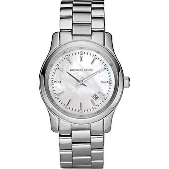 Michael Kors pista Womens Ladies Watch in acciaio inox argento Bracciale quadrante bianco MK5338
