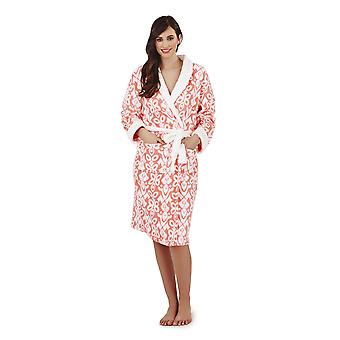 Loungeable, Ladies Luxury Fleece Super Soft Lounge Nightwear Robe, Coral, Small (UK 8-10)