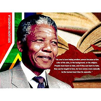 Nelson Mandela Poster Quote No One is Born Hating Another Person (18x24)