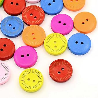 Packet 20 x Mixed Wood 20mm Round 2-Holed Patterned Sew On Buttons HA14605
