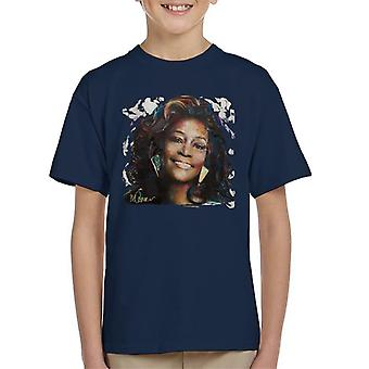 Sidney Maurer Original porträtt av Whitney Houston vit Kid's T-Shirt