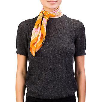 Versace Women's Baroque Pattern Silk Scarf Orange