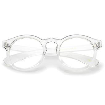 Classic Translucent Wide Temple Round Clear Lens P3 Round Eyeglasses 50mm
