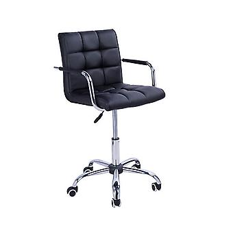 HOMCOM PU Leather Height Adjustable Office Computer Chair 360 Degree Swivel Chair with Chrome Base and Castor Wheels Bar Kitchen Stool with Arms (Black)