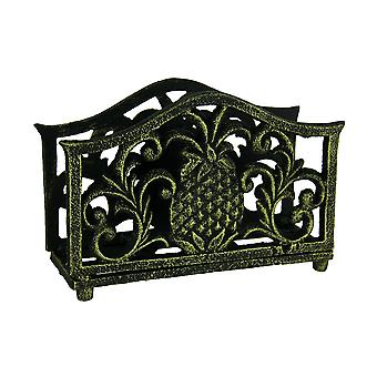 Black Gold Tropical Pineapple Cast Iron Napkin Holder