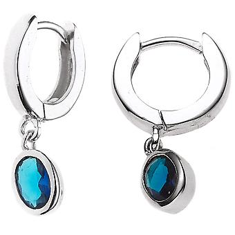 Hoops around 925 sterling silver rhodium plated 2 blue cubic zirconia earrings silver Keywork