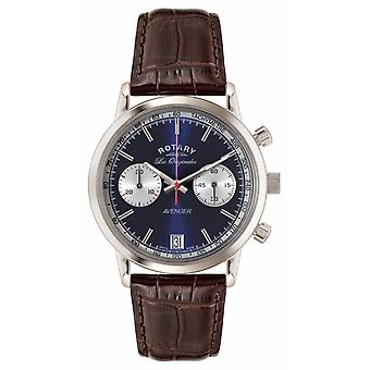 Rotary Mens Avenger, Brown Leather Strap, Blue Dial GS90130/05 Watch