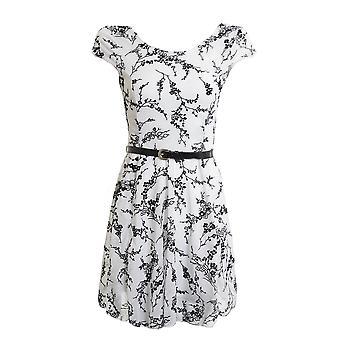 Ladies Sleeveless Mesh Flock Print Women's Skater Dress