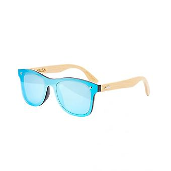 Colin Leslie Unisex Retro Sunglasses Bamboo Arms With Ice-Blue Lenses