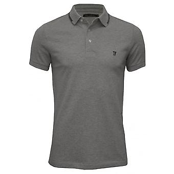 French Connection Tipped Pique Polo Shirt, Grey Melange