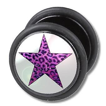 Fake Cheater Ear Plug, Earring, Body Jewellery, Leopard Purple Star