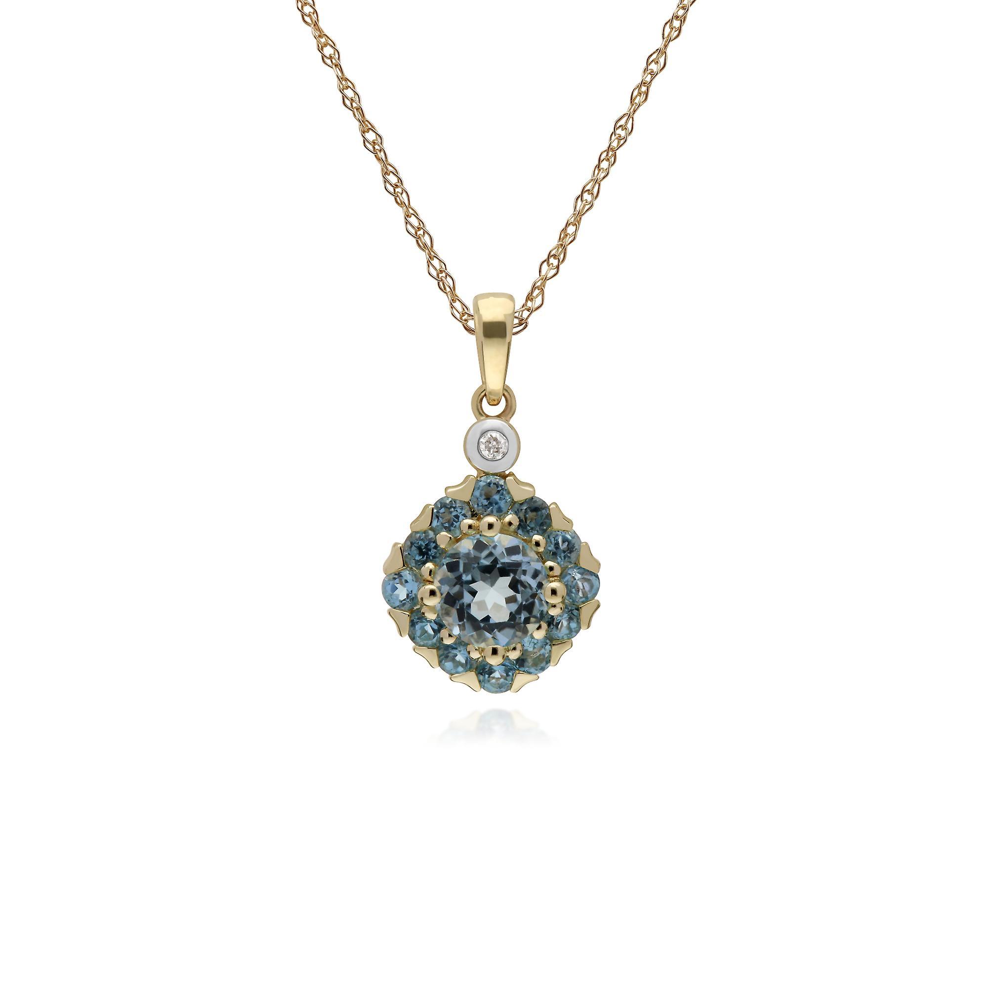 Gemondo 9ct jaune or Round bleu Topaz & Diamond Square Cluster 45cm collier