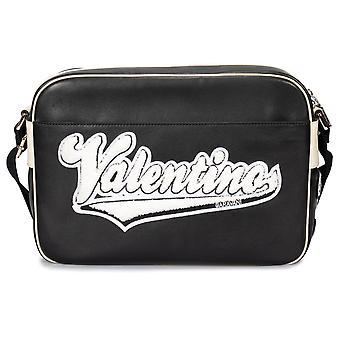 Valentino Black Leather Messenger Bag with Logo Applique