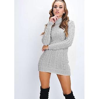 Kabel stricken Rollkragen figurbetonten Kleid grau