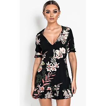 IKRUSH Womens Haili Floral Frill Low Neck Dress