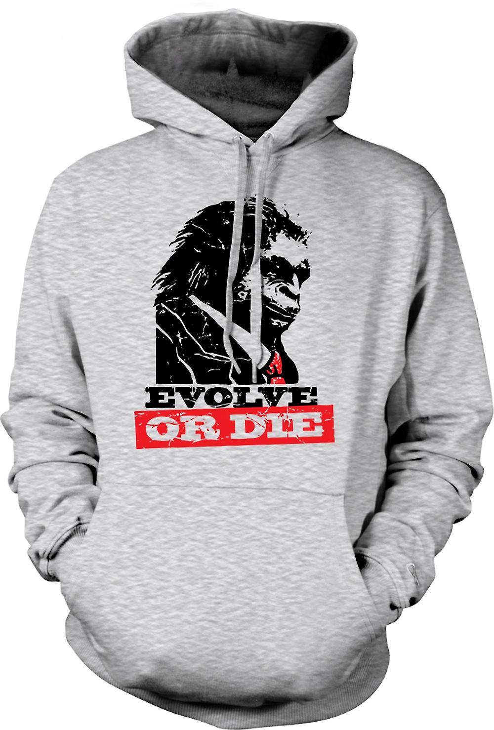 Mens Hoodie - Evolve Or Die Planet Of Apes - Funny Retro