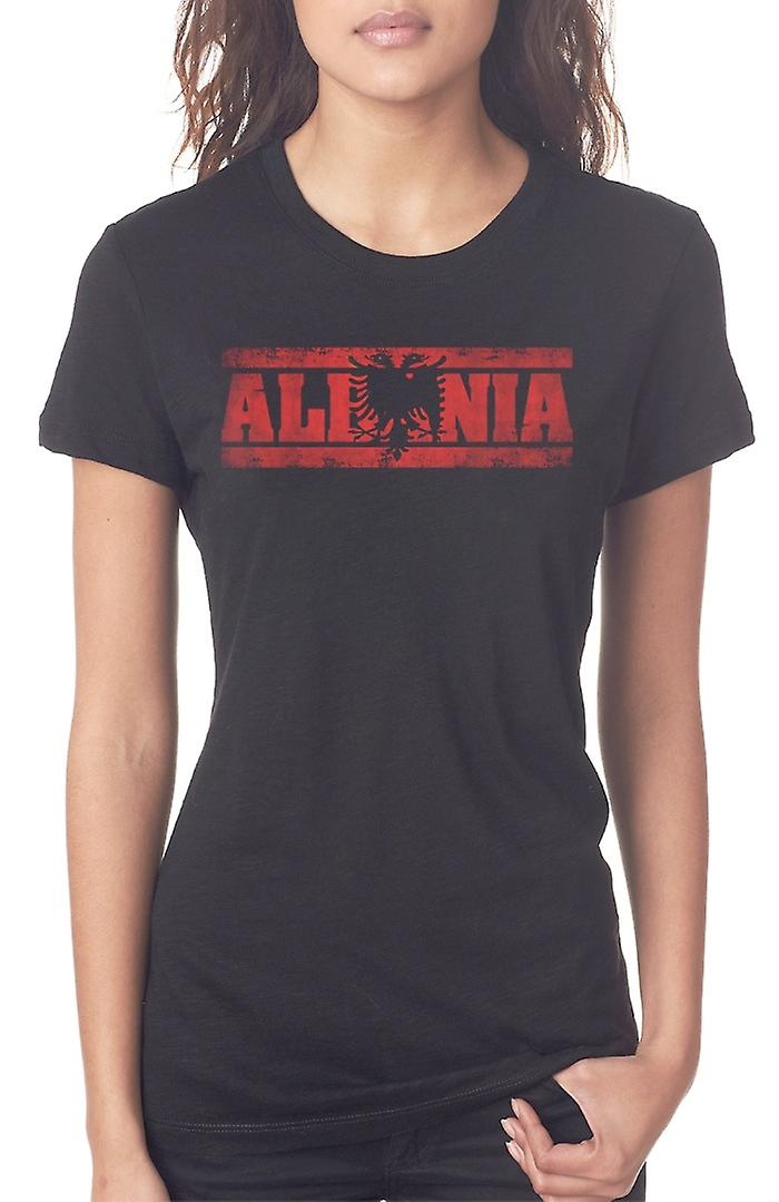 Albanian Albania Flag - Words Ladies T Shirt